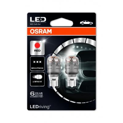 "OSRAM autožárovka ""W16W"" LEDriving® Premium 12V 2W W2.1x9.5d červená (Blistr 2ks)"