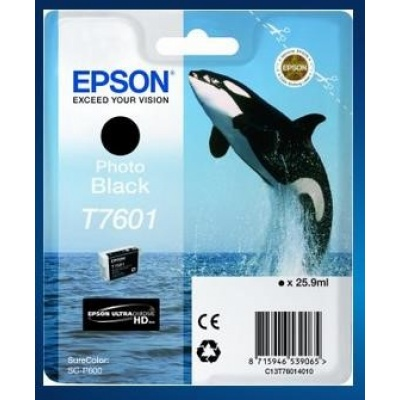 "EPSON ink čer ULTRACHROME HD ""Kosatka"" - Photo Black - T7601 (25,9 ml)"