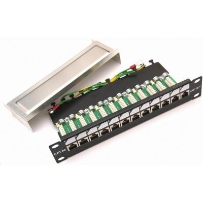 """10"""" Patch panel EXCLUSIVE osazený 12port, FTP (SFTP, STP), Cat 5e, s hřebínkem"""