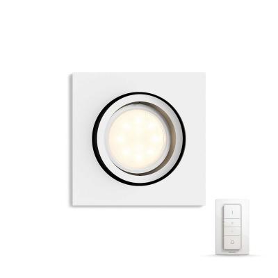 PHILIPS MILLISKIN Zapuštěné bodové svítidlo, čtvercové, Hue White ambiance, 230V, 1x5.5W GU10, Bílá