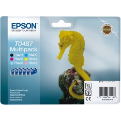 "EPSON ink čer+bar Stylus Photo ""Mořský koník"" R200/R300/R320/R340/RX500/RX600/RX620/RX640 - photo multipack"