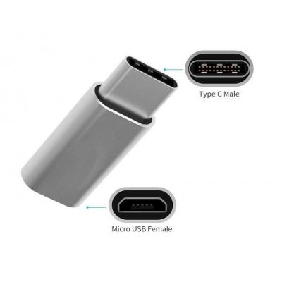 MEIZU adaptér  USB-C  / mIcro USB, stříbrná