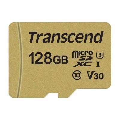 TRANSCEND MicroSDXC karta 128GB 500S, UHS-I U3 V30 + adaptér