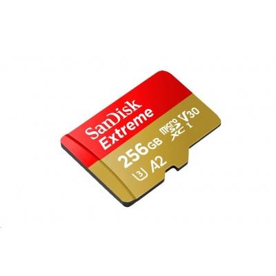 SanDisk MicroSDXC karta 256GB Extreme (R:160/W:90 MB/s, A2 C10 V30 UHS-I) + adaptér