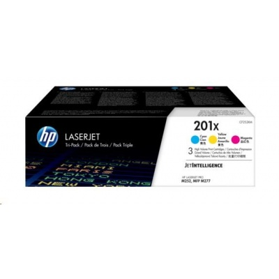HP 201X 3-pack High Yield Cyan/Magenta/Yellow Original LaserJet Toner Cartridges (CF253XM)