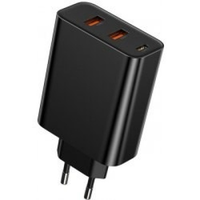 Baseus PPS rychlo nabíjecí EU adaptér USB-C + 2* USB-A 60W, černá