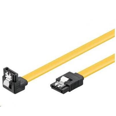 PREMIUMCORD Kabel SATA 3.0 datový 70cm lomený 90°, kovové západky