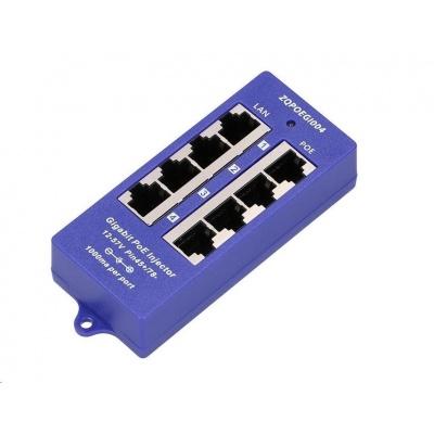 POE injektor panel pasivní, gigabitový - 4 porty, stíněný