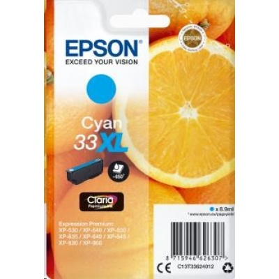 "EPSON ink bar Singlepack ""Pomeranč"" Cyan 33XL Claria Premium Ink"