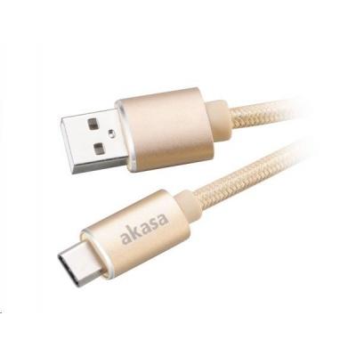 AKASA kabel USB 2.0 Type-C na USB Type-A, 100cm, zlatý