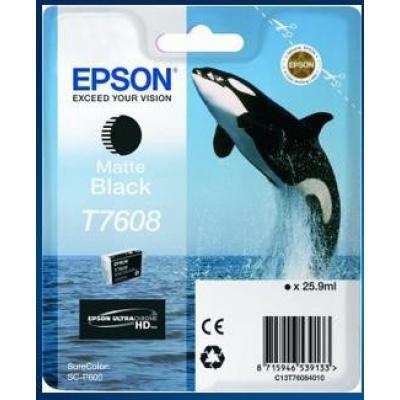"EPSON ink čer ULTRACHROME HD ""Kosatka"" - Matte Black - T7608 (25,9 ml)"