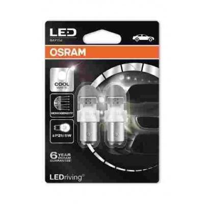 """OSRAM autožárovka """"P21/5W"""" LEDriving® Premium 12V 2W BAY15d  6000K studená bílá (Blistr 2ks)"""